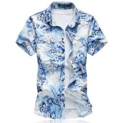 Camisa Masculina Moda Verão Praia Estilosa Fios Dourado Estampa Floral