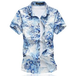Men's Fashion Shirt Summer Beach Stylish Yarn Golden Floral Pattern