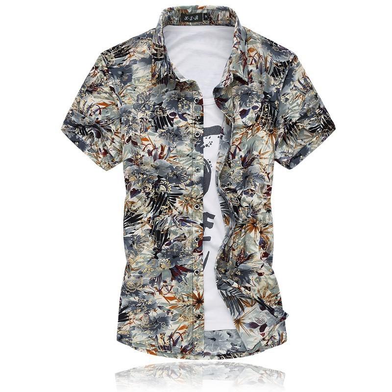 ecc136045b Camisa Masculina Moda Verão Praia Estilosa Fios Dourado Estampa Floral