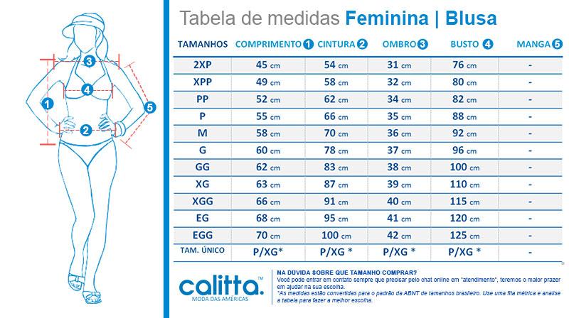 Tabela de medidas blusas femininas roupas Calitta Brasil