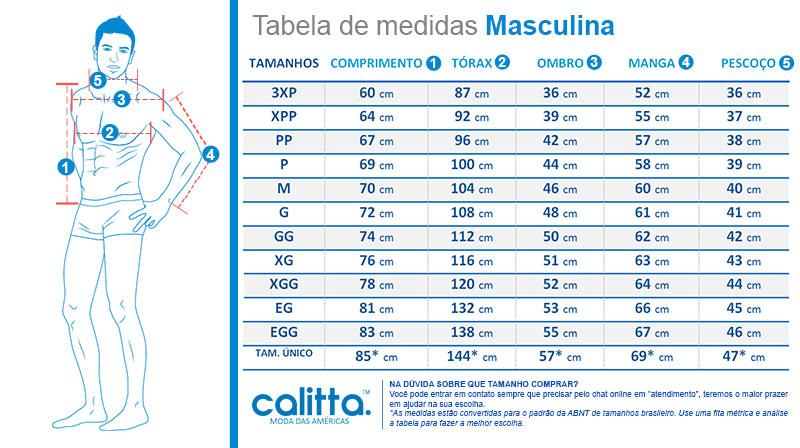 Tabela de medidas Camisas Polo Calitta Masculinas