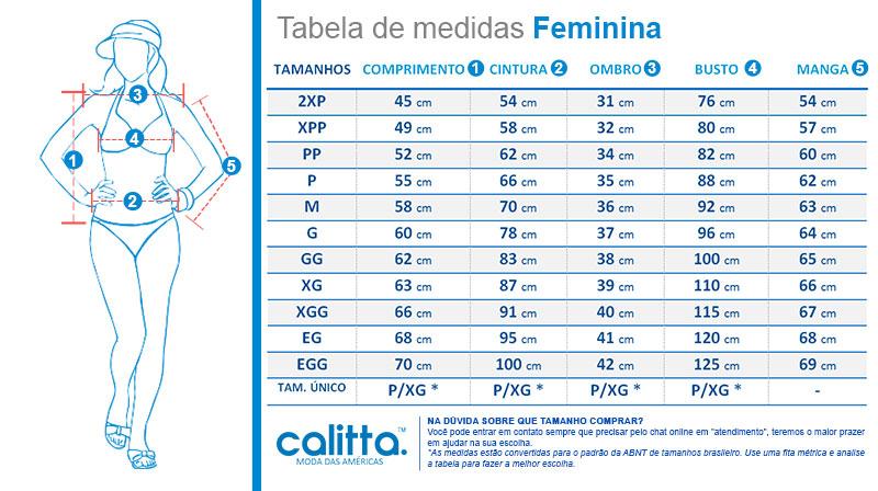 Tabela de medidas jaquetas e casacos Feminino Calitta Brasil