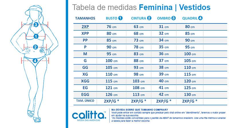 Tabela de Medidas Vestidos Femininos Calitta Brasil