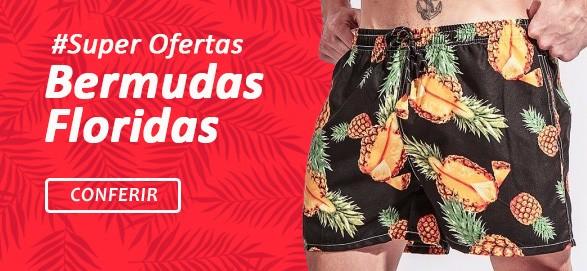 Shorts Florais Masculinos Moda Praia Calitta